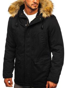 Черная мужская зимняя парка куртка Bolf 5284