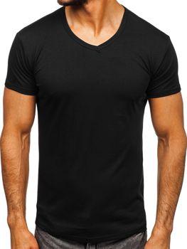 Черная мужская футболка без принта с v-образным вырезом Bolf 2007