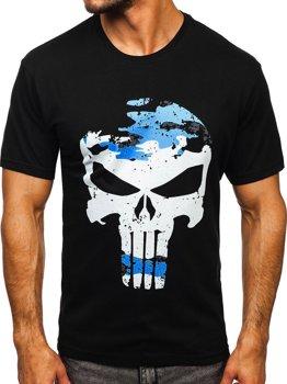 Черная мужская футболка с принтом Bolf 2098