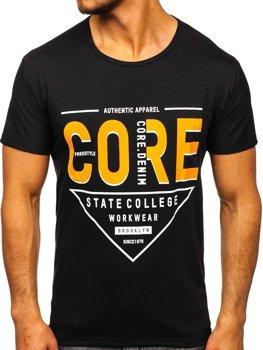 Черная мужская футболка с принтом Bolf KS2098