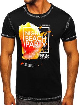 Черная мужская футболка с принтом Bolf S024