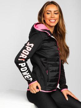 Черная стеганая женская демисезонная куртка с капюшоном Bolf KSW4008