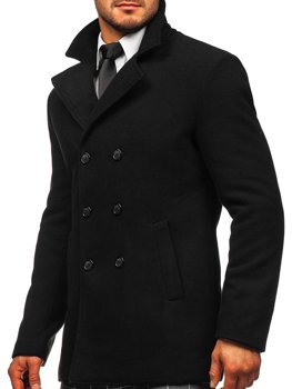 Черное двубортное мужское пальто с высоким воротником Bolf 8078