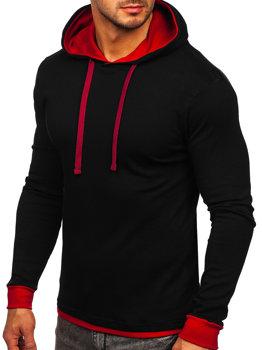 Черно-бордовая мужская толстовка с капюшоном Bolf 145380