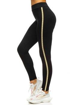Черно-желтые женские леггинсы с принтом Bolf 82326