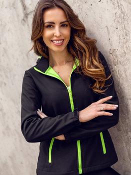 Черно-зеленая демисезонная женская куртка Софтшелл Bolf HH018