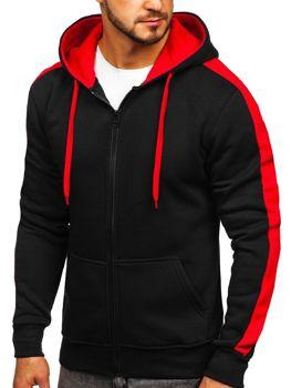 Черно-красная мужская толстовка с капюшоном Bolf 2015