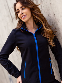 Черно-синяя куртка женская демисезонная Софтшелл Bolf HH018