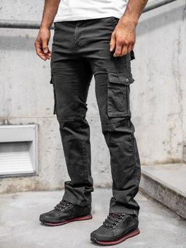 Черные мужские брюки-карго с поясом Bolf 8813