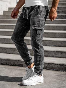 Черные мужские джинсовые джоггеры Bolf KA1316-1