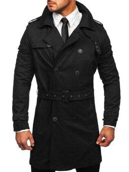 Черный двубортный мужской плащ с высоким воротником и поясом Bolf 5569