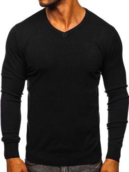 Черный мужской свитер с V-образным вырезом Bolf YY03