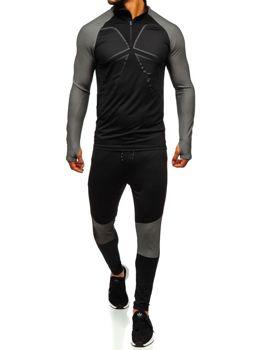 Чоловічий спортивний костюм чорно-сірий Bolf 509