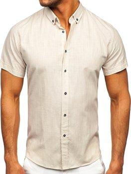 Экрю хлопок мужская рубашка с коротким рукавом Bolf 20501
