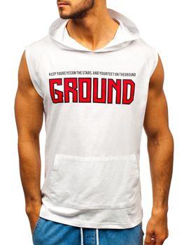 Мужская футболка с принтом и капюшоном белая Bolf 2859
