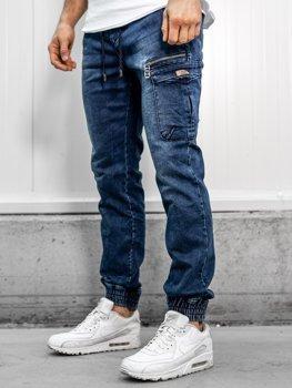 Брюки джинсовые джоггеры мужские темно-синие Bolf KA687-1
