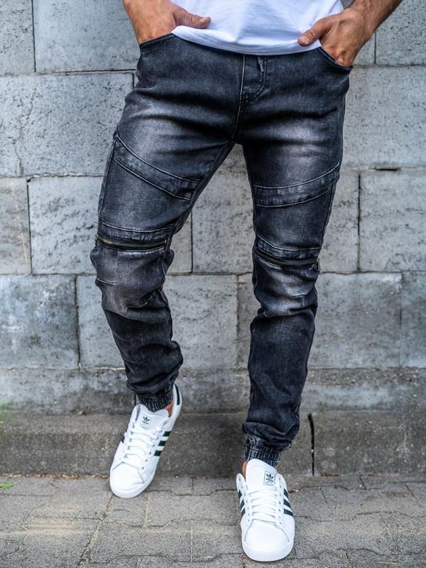 Брюки  джоггеры джинсовые мужские чероные Bolf KA573