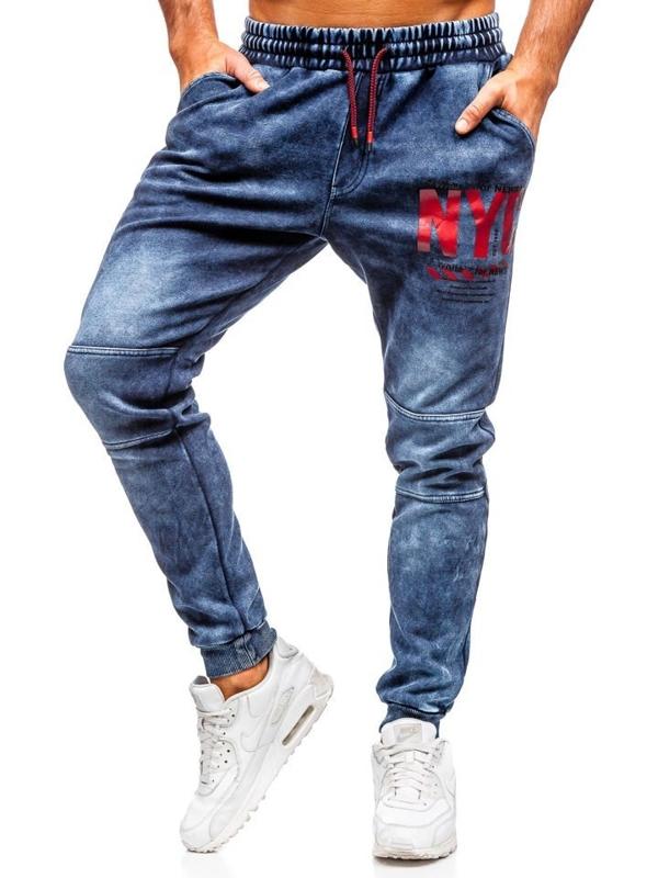 Брюки мужские джинсовые джоггеры темно-синие Bolf kk1057