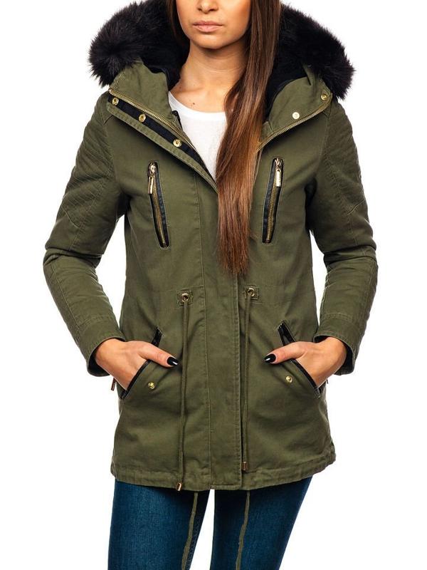 Женская зимняя куртка зеленая Bolf M16