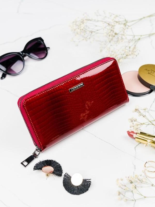 Женский кожаный кошелек красный 2082