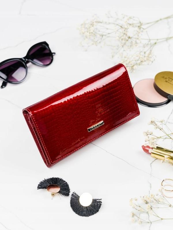 Женский кожаный кошелек красный 2089