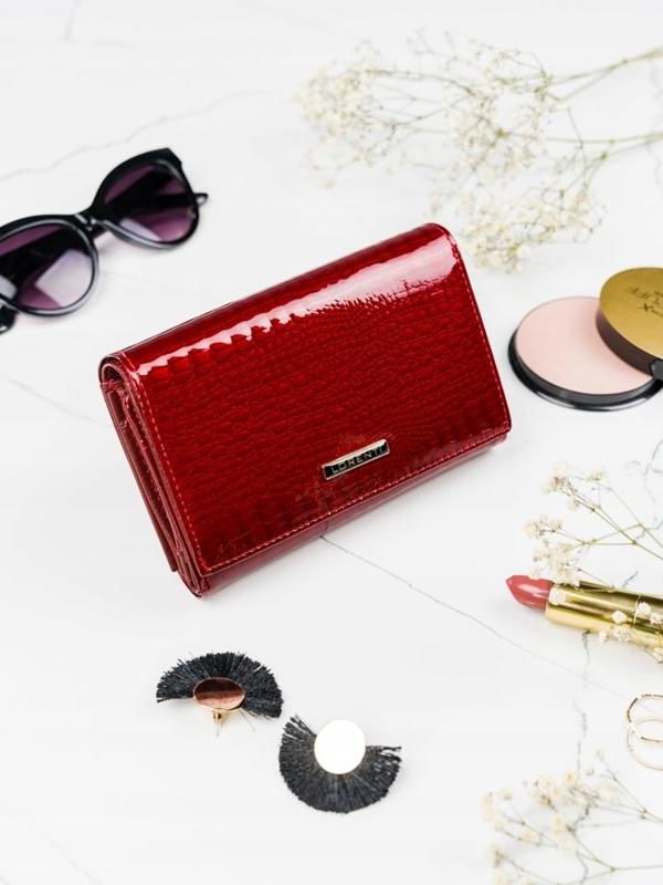 Женский кожаный кошелек красный 2091
