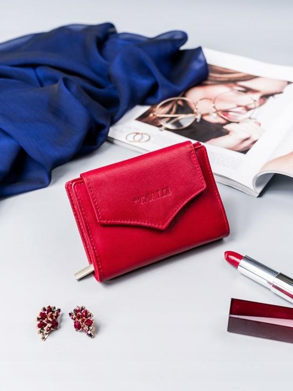Женский кожаный кошелек красный 2409
