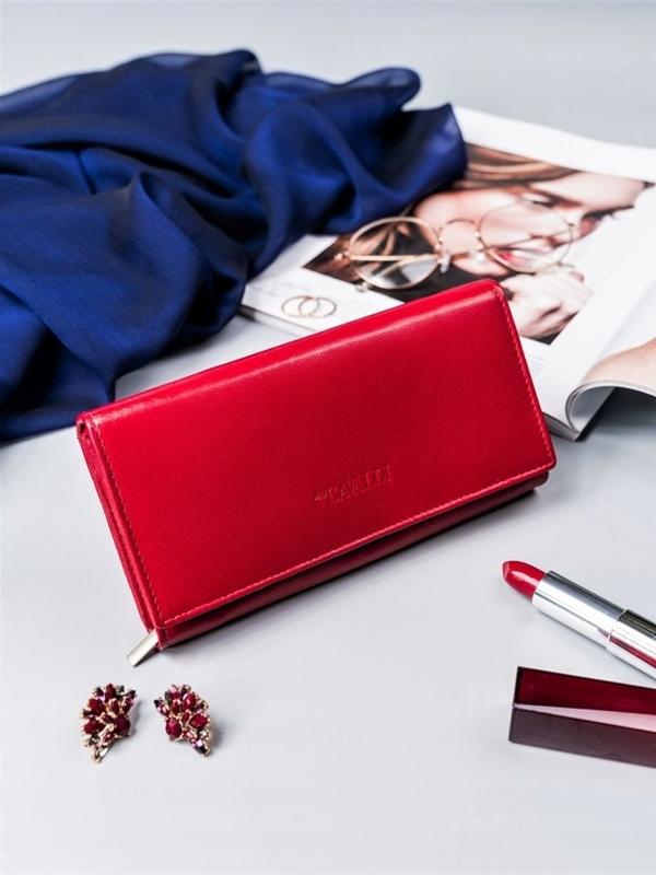 Женский кожаный кошелек красный 2418