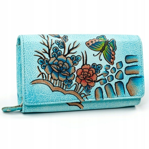 Кошелек женский кожаный синий 3090