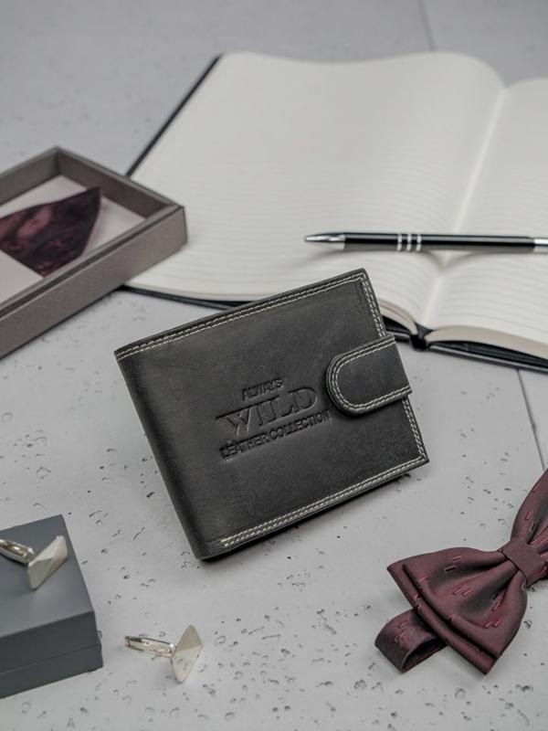 Кошелек мужской кожаный черный 3201