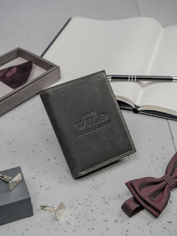 Кошелек мужской кожаный черный 3203