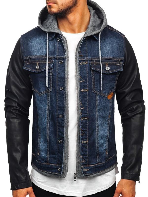 Куртка джинсовая мужская темно-синяя Bolf AK531