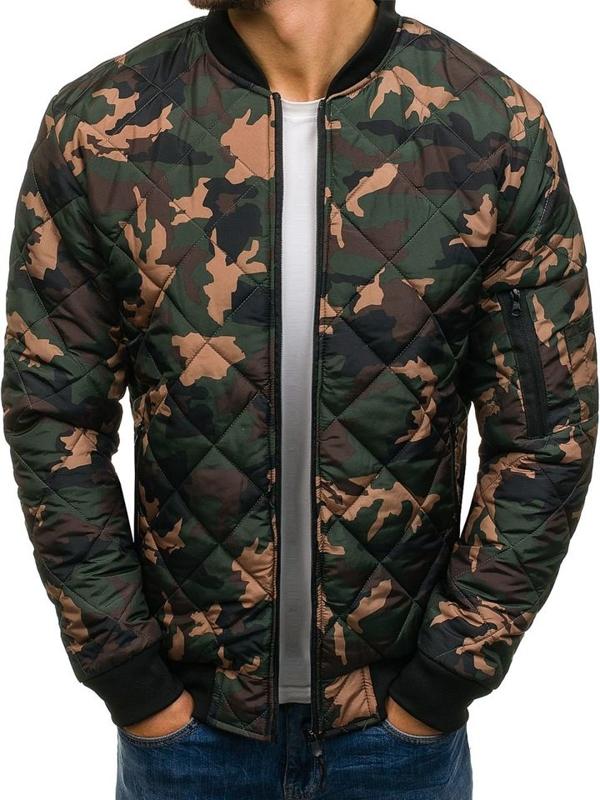 Куртка мужская демисезонная бомберка камуфляж-зеленая Bolf AK97