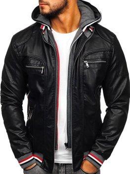 Куртка мужская кожаная с капюшоном черная Bolf 1103