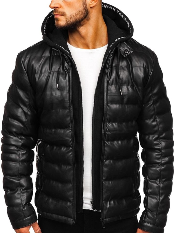 Куртка мужская кожаная с капюшоном черная Bolf 5831