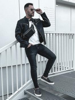 Куртка мужская кожаная черная Bolf 1129