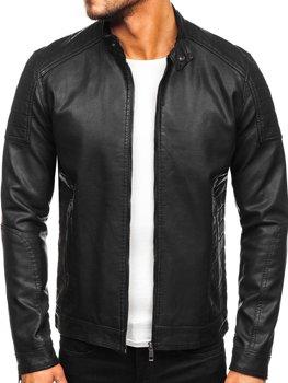 Куртка мужская кожаная biker черная Bolf 88901