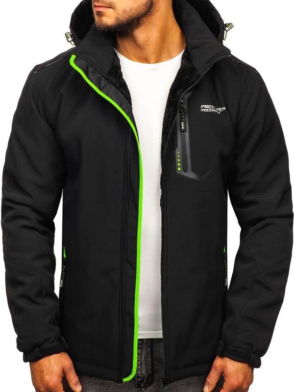 Куртка мужская софтшелл утепленная черно-зеленого цвета Bolf BK155