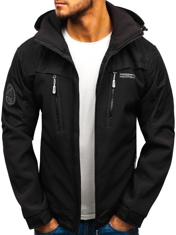 Мужская демисезонная куртка софтшелл черная Bolf P187