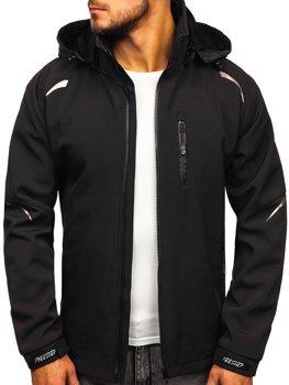 Мужская демисезонная куртка софтшелл черная Bolf P821