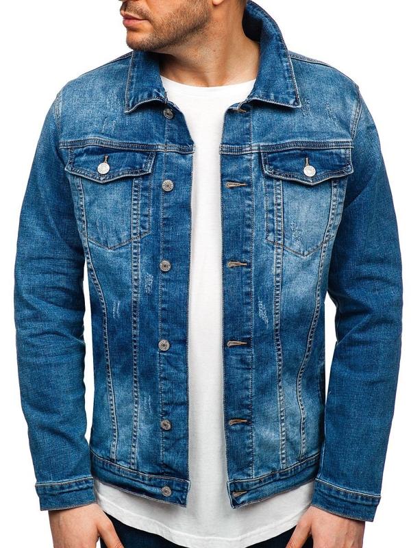 Мужская джинсовая куртка темно-синяя Bolf AK585