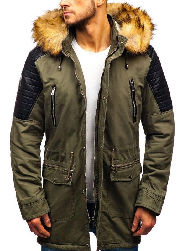Мужская зимняя куртка парка хаки Bolf 88830