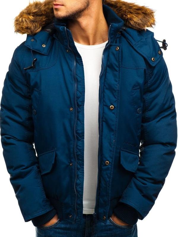 Мужская зимняя куртка темно-синяя Bolf 40137