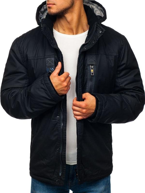 Мужская зимняя куртка черная Bolf 1567