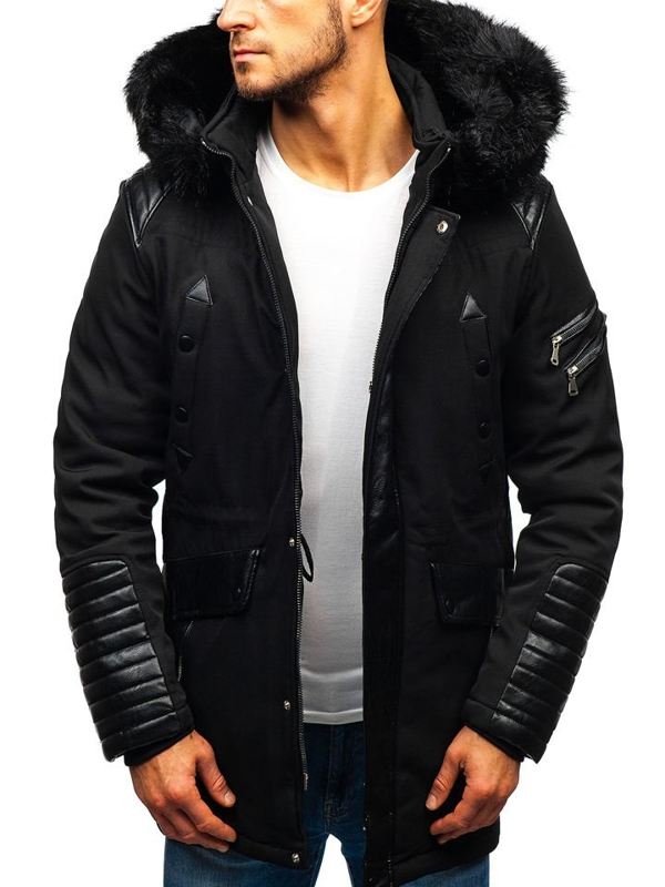Мужская зимняя куртка черная Bolf 99111