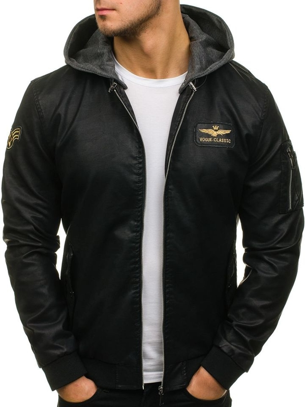 Мужская кожаная куртка бомберка черная Bolf 5161