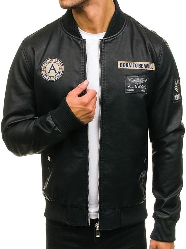 Мужская кожаная куртка бомберка черная Bolf 72166