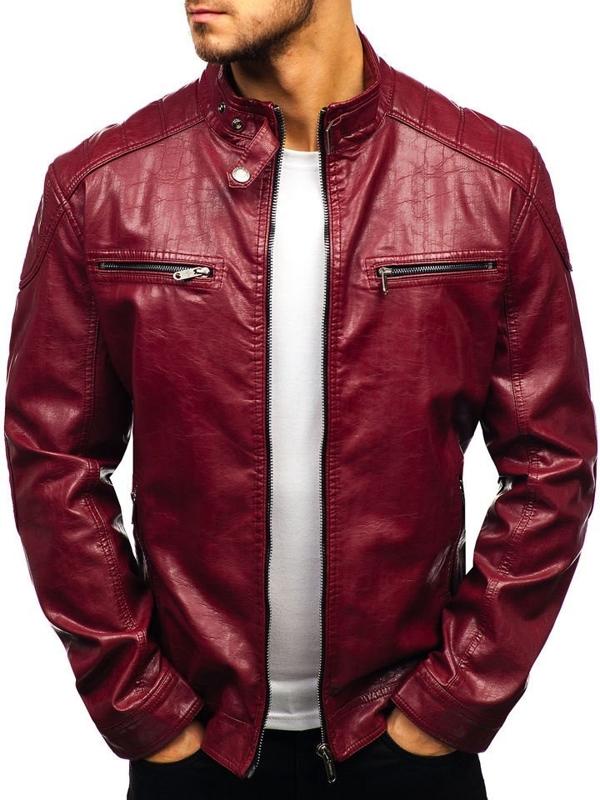 Мужская кожаная куртка бордовая Bolf ex379