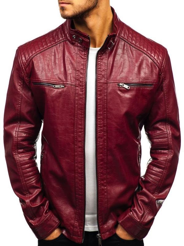 Мужская кожаная куртка бордовая Bolf ex386