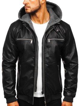 Мужская кожаная куртка с капюшоном черная Bolf 1105